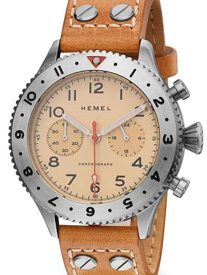 HEMEL 24 Meca-Quartz Chronograph Watch with GMT Bezel and Sapphire Crystal #HF4IV