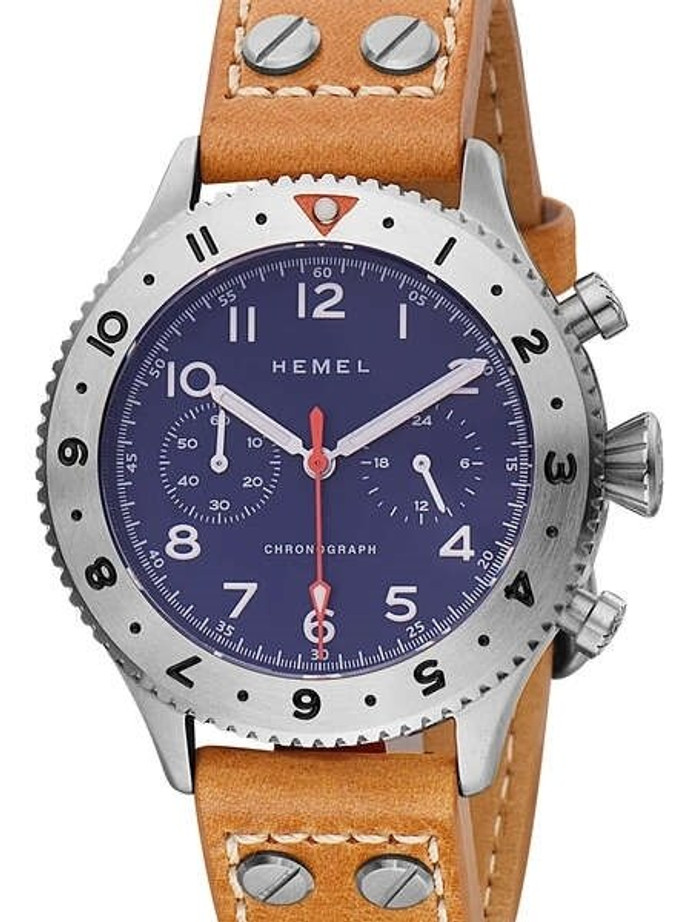 HEMEL 24 Meca-Quartz Chronograph Watch with GMT Bezel and Sapphire Crystal #HF4NA