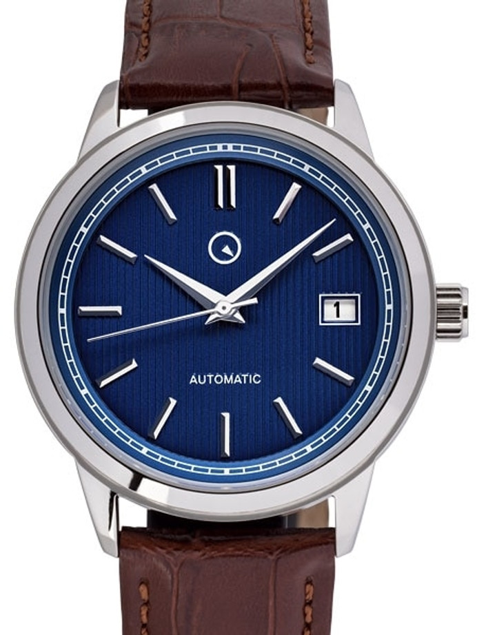 Islander Automatic Dress Watch with Pinstripe Blue Dial, AR Sapphire Crystal #ISL-33