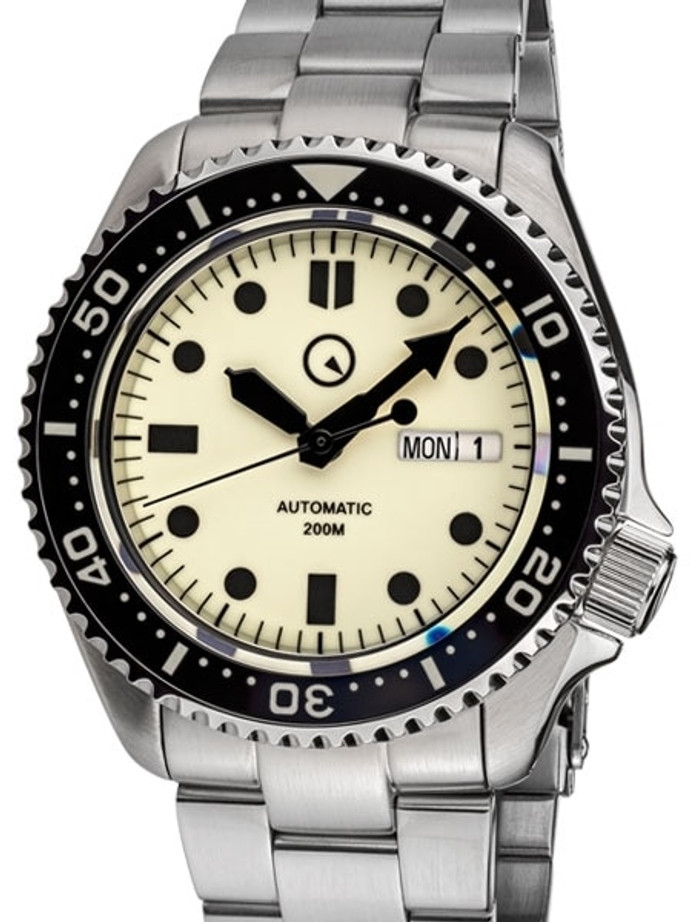 Islander Luminous Dial Automatic Dive Watch with Solid-Link Bracelet, AR Sapphire Crystal, and Luminous Ceramic Bezel Insert #ISL-61