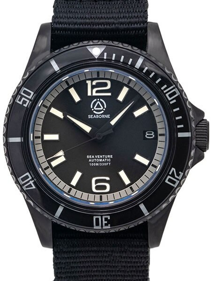 Seaborne Sea Venture 100-Meter Automatic Dive Watch with a 41mm Case and an AR Sapphire Crystal #SB-SV-004-TAC