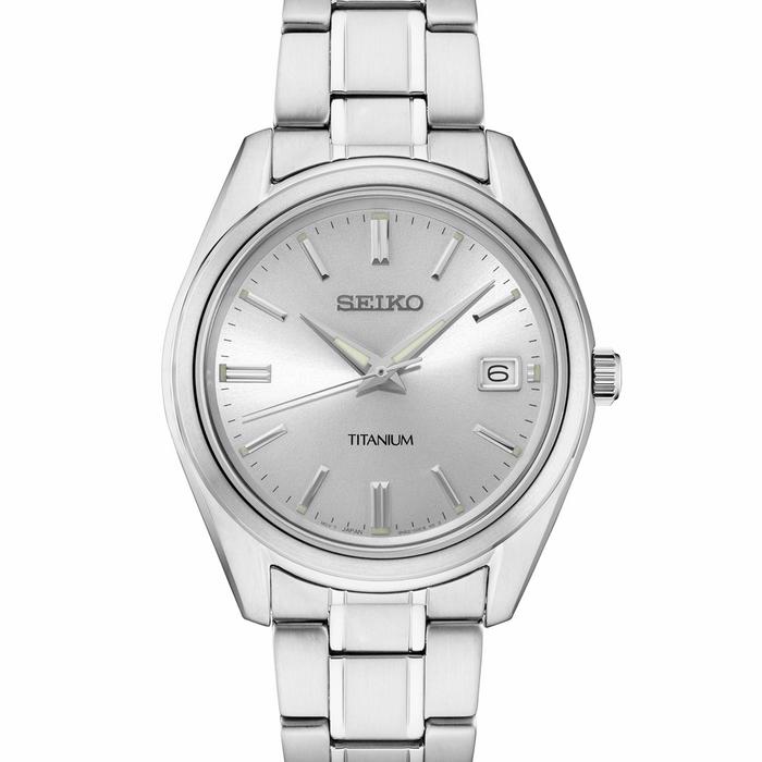 Seiko 40mm Titanium Quartz Watch with Sapphire Crystal and Titanium Bracelet SUR369