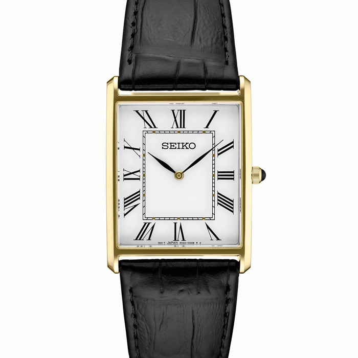 Seiko Classic Thin Quartz Dress Watch with Goldtone Stainless Steel Case #SWR052