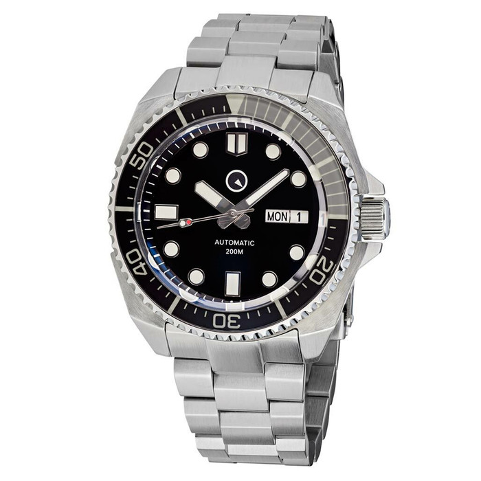 Islander Black Dial Automatic Dive Watch with AR Double-Dome Sapphire Crystal, and Luminous Sapphire Bezel Insert #ISL-65