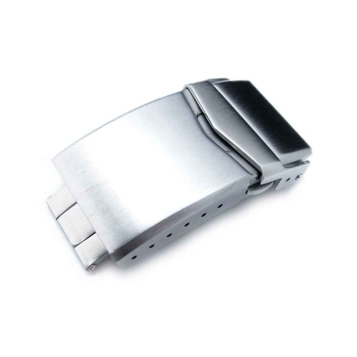Stainless Steel V Clasp Double Lock Diver Buckle, Brushed #CLASP-01