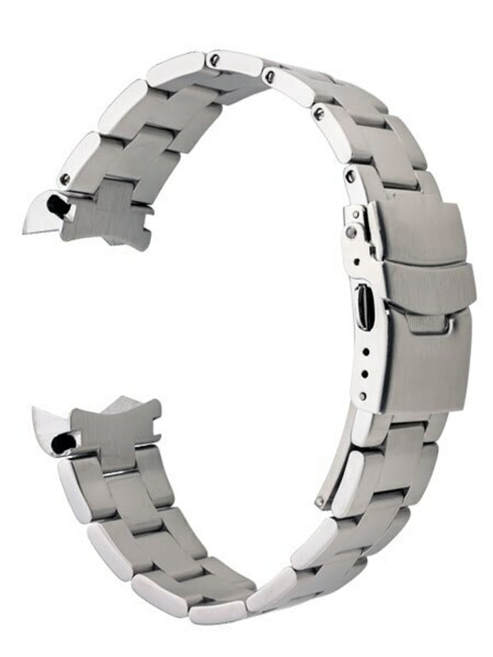 Islander 20mm Brushed Solid-Link Watch Bracelet for Islander ISL-53 and ISL-54 Watches, Curved End #BRAC-11