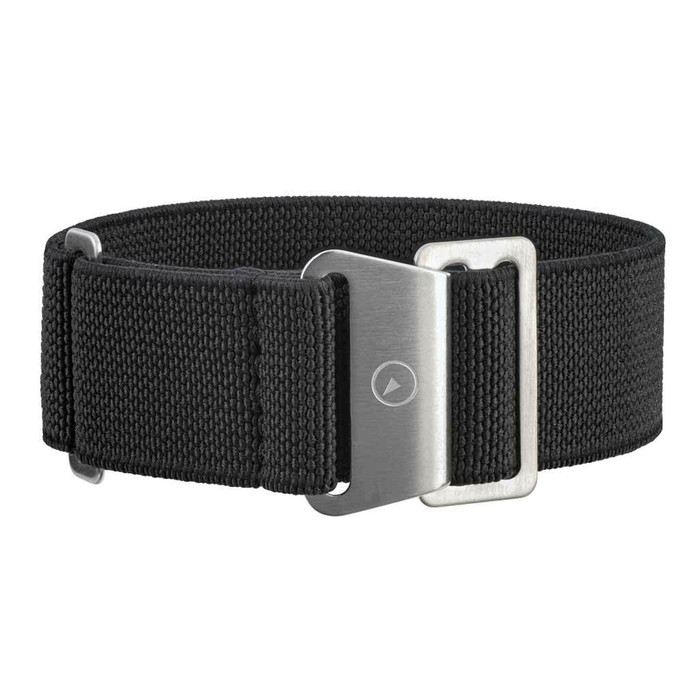 Black Elastic Woven Nylon Strap with Brushed Finish Steel Clasp #EWB-01-SS