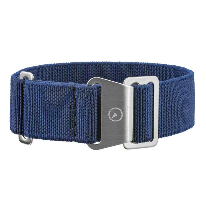 Blue Elastic Woven Nylon Strap with Brushed Finish Steel Clasp #EWB-02-SS
