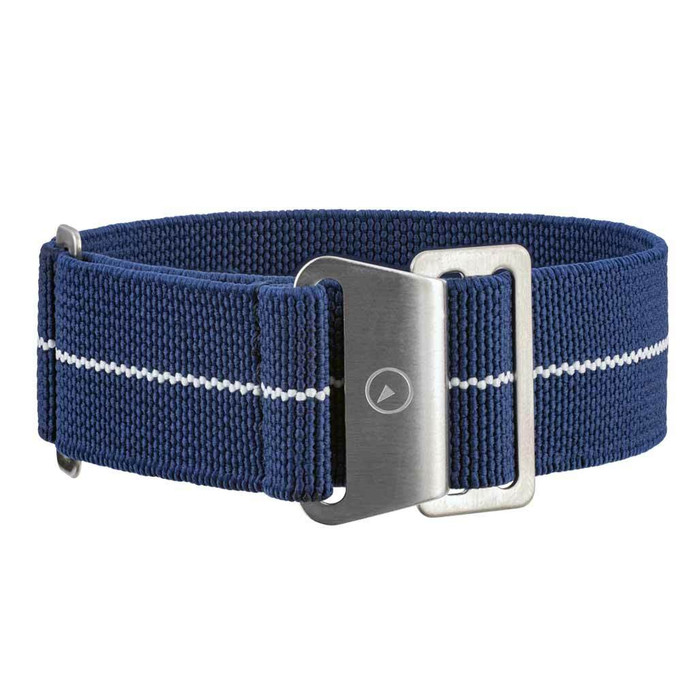 Blue Elastic Woven Nylon Strap with White Stripe, Brushed Finish Steel Clasp #EWB-06-SS