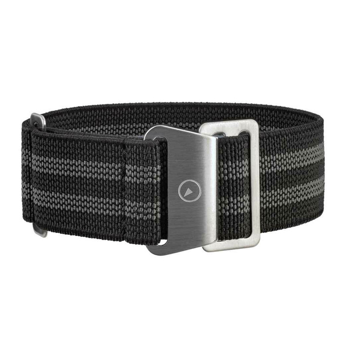 Black Elastic Woven Nylon Strap with Grey Stripes, Brushed Finish Steel Clasp #EWB-12-SS