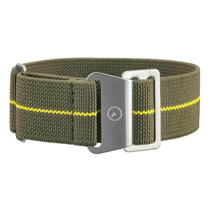 Green Elastic Woven Nylon Strap with Yellow Stripe, Brushed Finish Steel Clasp #EWB-13-SS
