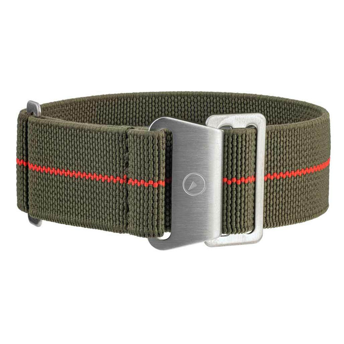Green Elastic Woven Nylon Strap with Red Stripe, Brushed Finish Steel Clasp #EWB-14-SS