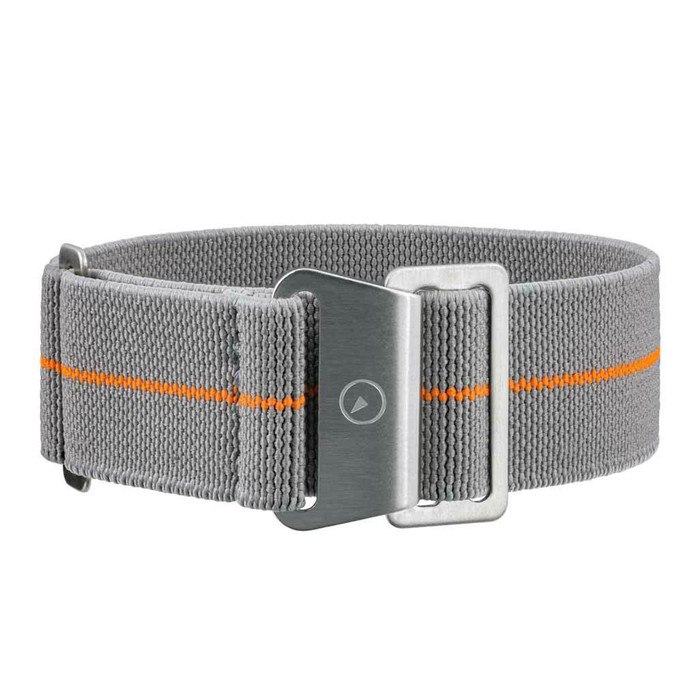 Grey Elastic Woven Nylon Strap with Orange Stripe, Brushed Finish Steel Clasp #EWB-16-SS
