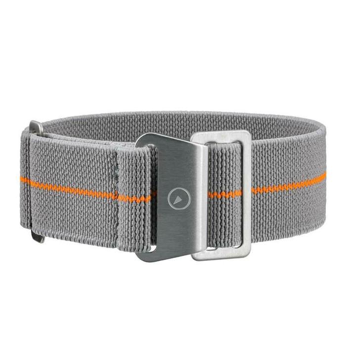 Grey Elastic Woven Nylon Strap with Orange Stripe, Brushed Finish Steel Clasp #EWB-16-SS