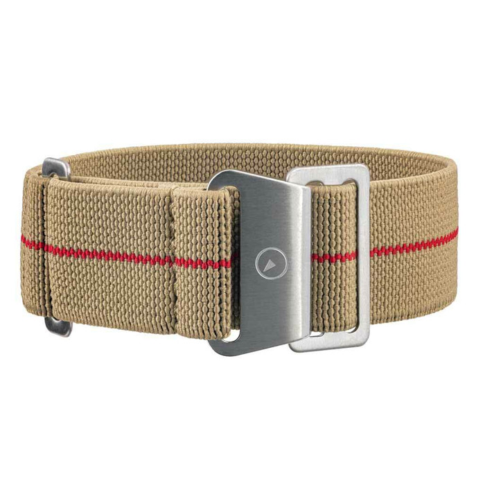 Camel Elastic Woven Nylon Strap with Red Stripe, Brushed Finish Steel Clasp #EWB-17-SS