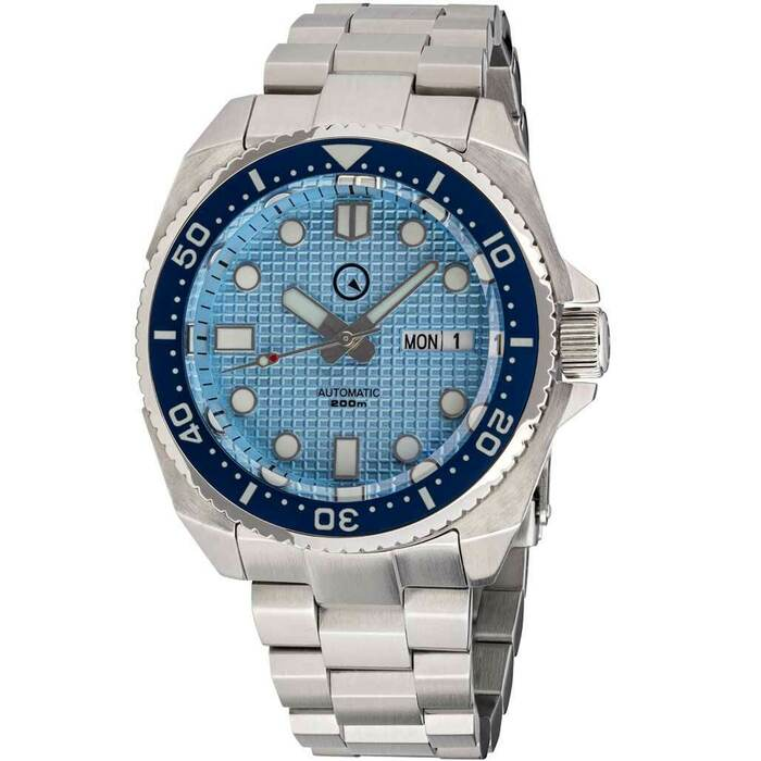 Islander Ice Blue Waffle Dial Automatic Dive Watch with AR DD Sapphire Crystal, and Luminous Ceramic Bezel Insert #ISL-67