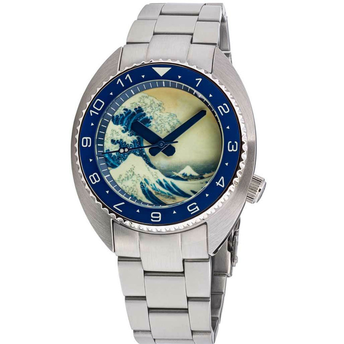 Islander Luminous Wave Dial Automatic Dive Watch with AR Dome Sapphire Crystal, and Lumious Ceramic Bezel Insert #ISL-68