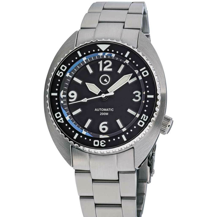 Islander Black Dial Automatic Dive Watch with AR Sapphire Crystal, and Lumious Ceramic Bezel Insert #ISL-72