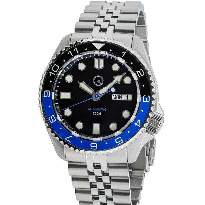 "Islander Automatic Dive Watch with Solid-Link Bracelet, AR Sapphire Crystal, Dual-Time Luminous ""Batman"" Bezel Insert #ISL-74"