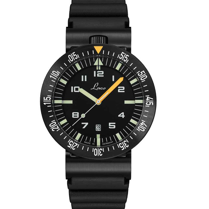 Laco Squad Atacama-2 Tactical Dive Watch with Black PVD Case and Sapphire Crystal #861632-2