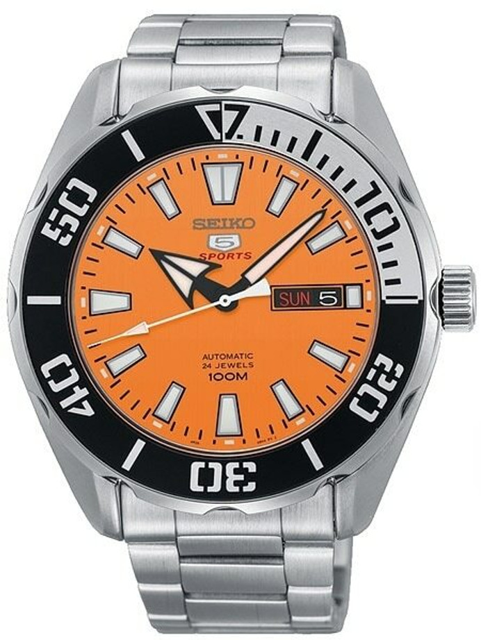 Scratch and Dent - Seiko 5 Sports Automatic 24-Jewel Watch with Orange Dial and SS Bracelet #SRPC55K1