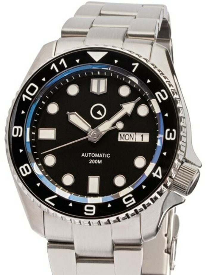 Manufacturer Refurbished - Islander Automatic Dive Watch with AR Sapphire Crystal, Dual-Time Luminous Ceramic Bezel #ISL-01
