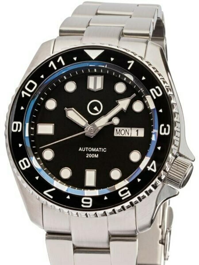 Manufacturer Refurbished - Islander Automatic Dive Watch w AR Sapphire Crystal, Dual-Time Luminous Ceramic Bezel Insert #ISL-01