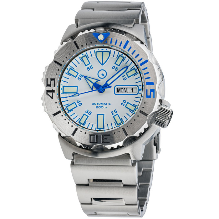 Islander White Dial Automatic Dive Watch with AR Double Dome Sapphire Crystal, and 120-click Bezel #ISL-56