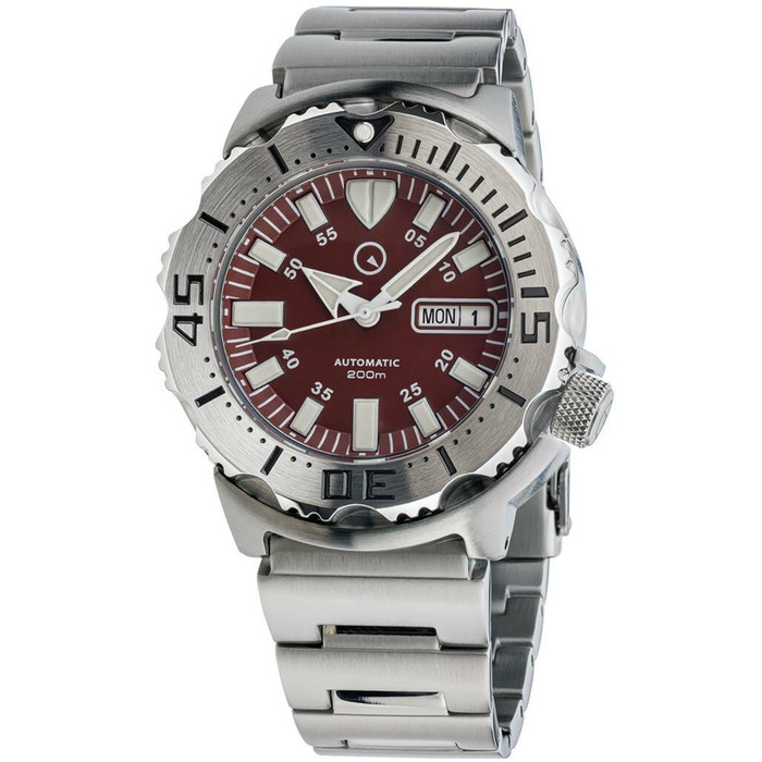 Islander Red Dial Automatic Dive Watch with AR Double Dome Sapphire Crystal, and 120-click Bezel #ISL-59