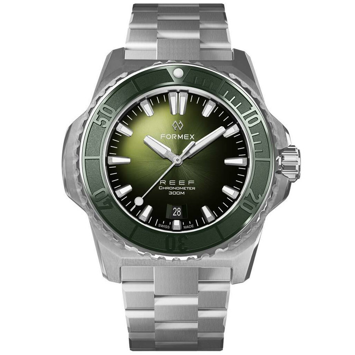 Formex REEF Swiss Automatic Chronometer Dive Watch with Sunburst Green Dial #2200-1-6300-100