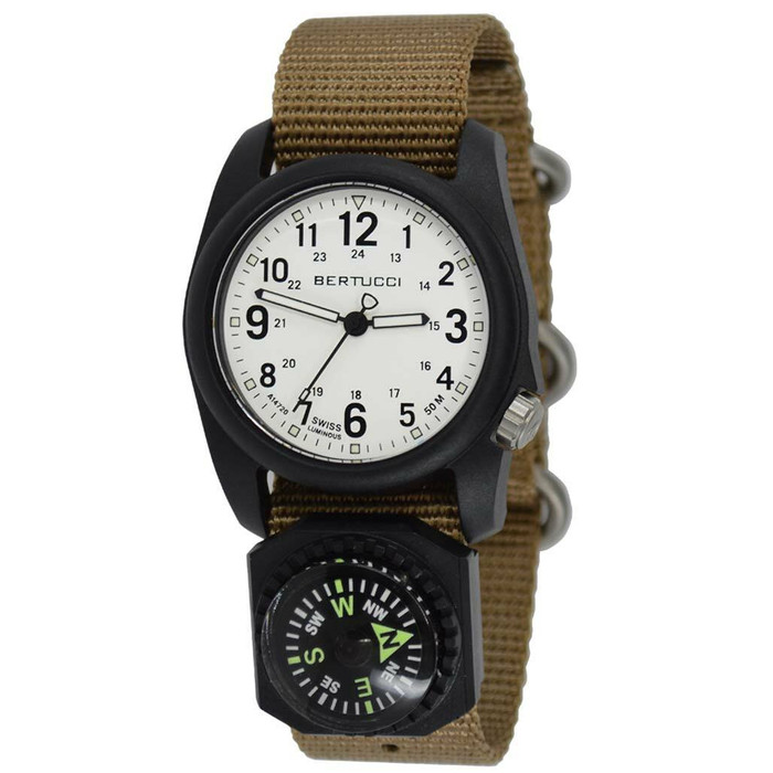 Bertucci DX3 Compass™ Field Watch with Nylon Strap, White Dial - #11104
