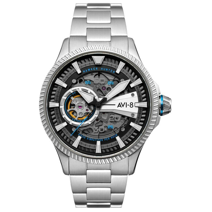 AVI-8 Hawkeye Hunter Blue Diamonds, Automatic Pilot Watch, AR Sapphire Crystal #AV-4078-11