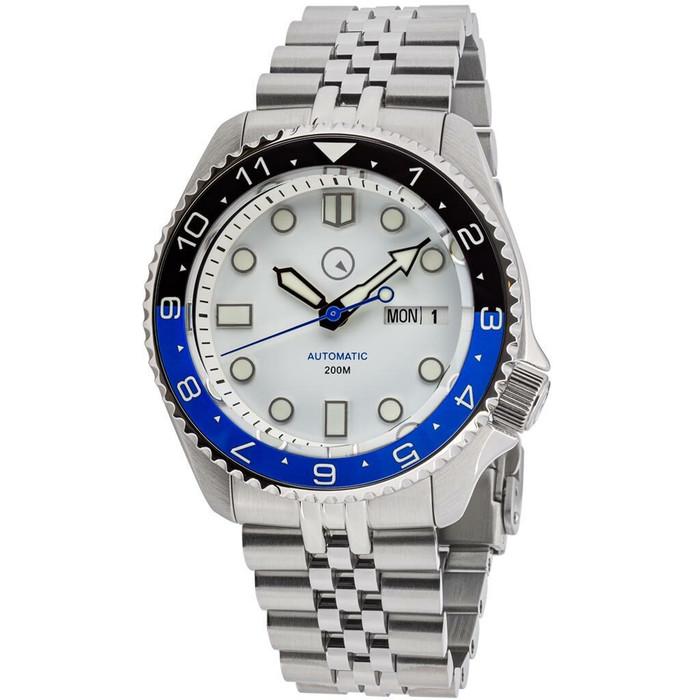 "Islander Automatic Dive Watch with AR Sapphire Crystal, Dual-Time Luminous ""Batman"" Bezel Insert #ISL-86"