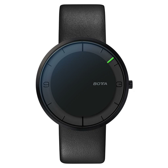 Botta Nova 40 Quartz one hand 12-hour watch with ultra thin black PVD titanium case #579090AB