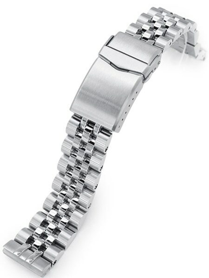 """Scratch and Dent - Strapcode 20mm Angus-J """"Louis"""" Stainless Steel Watch Bracelet Seiko SBDC053 V-Clasp, Brushed #SS201820B086"""