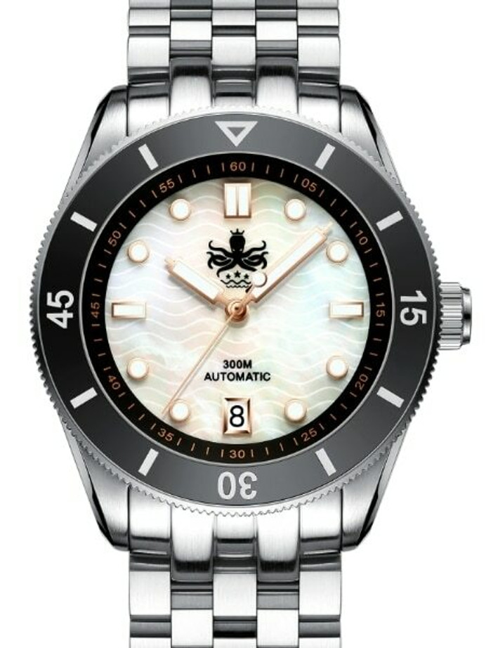 Scratch and Dent - PHOIBOS Wave Master 300-Meter Automatic Dive Watch with MOP Dial, AR Sapphire Crystal #PY010D