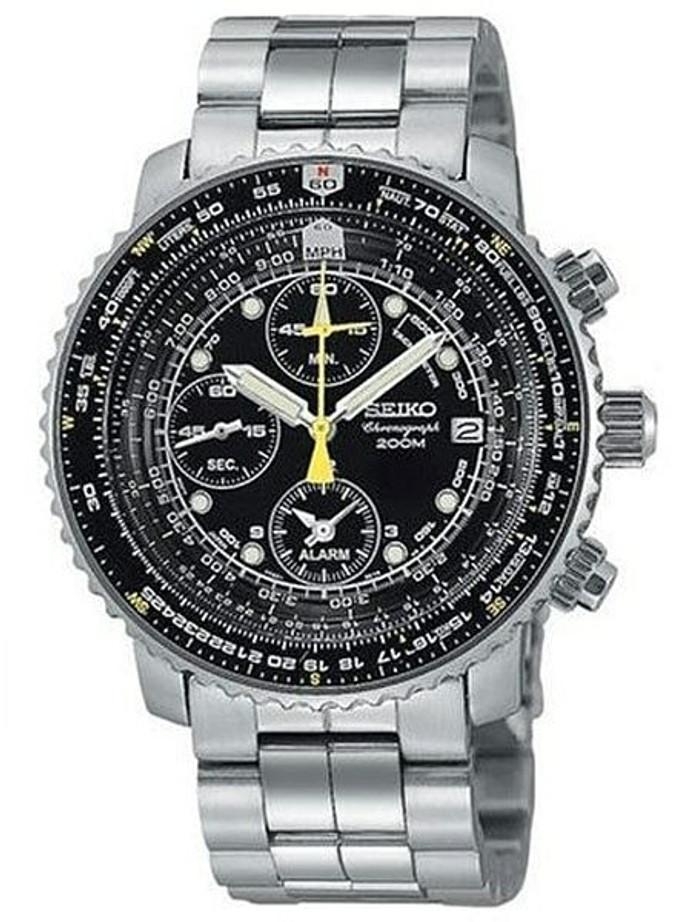 Scratch and Dent - Seiko SNA411P1 Quartz Flightmaster Chronograph Watch plus Alarm Function
