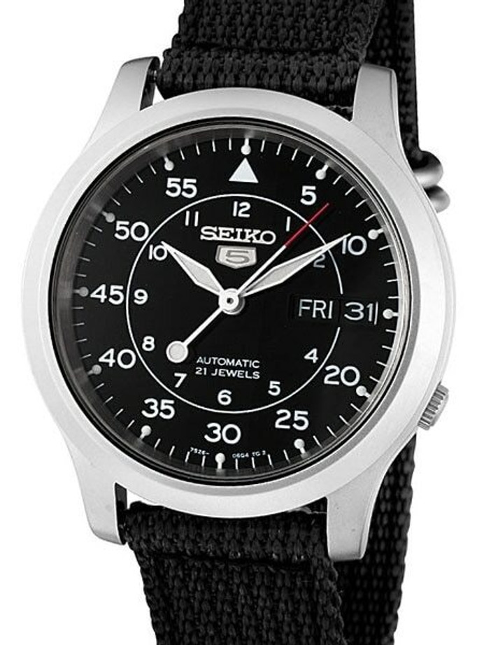 Scratch and Dent - Seiko 5 Military Black Dial Automatic Watch on Black Canvas Strap #SNK809K2