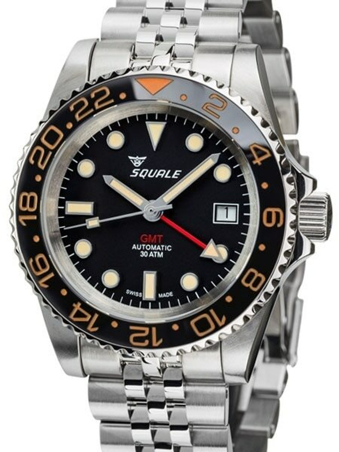 Scratch and Dent - Squale 300 meter Swiss Automatic GMT watch with Ceramic Bezel, AR Sapphire Crystal #1545GM-CER-VIN