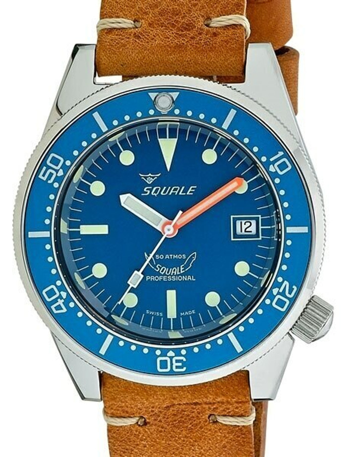 Scratch and Dent - Squale 500 Meter Swiss Automatic Dive Watch with Blue Dial  #1521-026-BLR