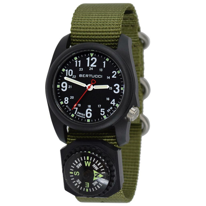 Bertucci DX3 Compass™ Field Watch with Nylon Strap, Black Dial - #11103