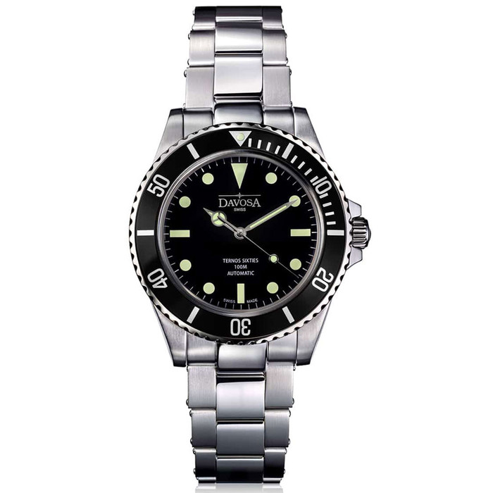 Davosa Ternos Sixties-Style Swiss Automatic Dive Watch with Black Dial #16152550
