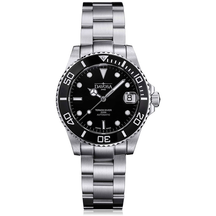 Davosa 36.5mm Medium Ternos Swiss Automatic Dive Watch with Black Dial #16619550