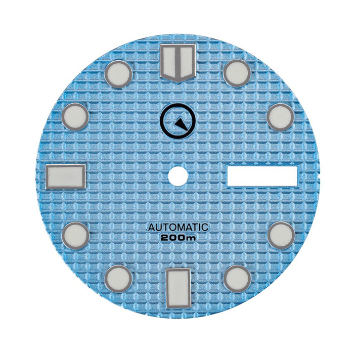 Light Blue Waffle Dial with SuperLuminova markers for Seiko 7S26, NH36 and 4R36 Movements #D09