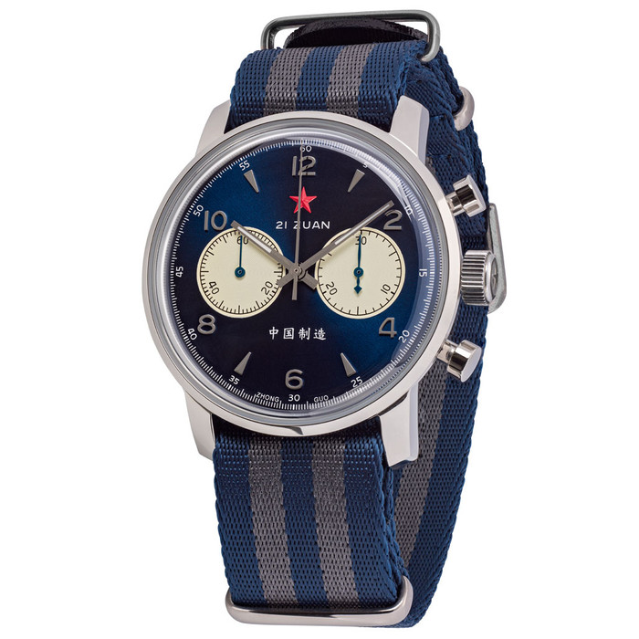 Seagull 1963 Hand Wind Mechanical Chronograph with Vibrant Blue Dial #6488-2901L