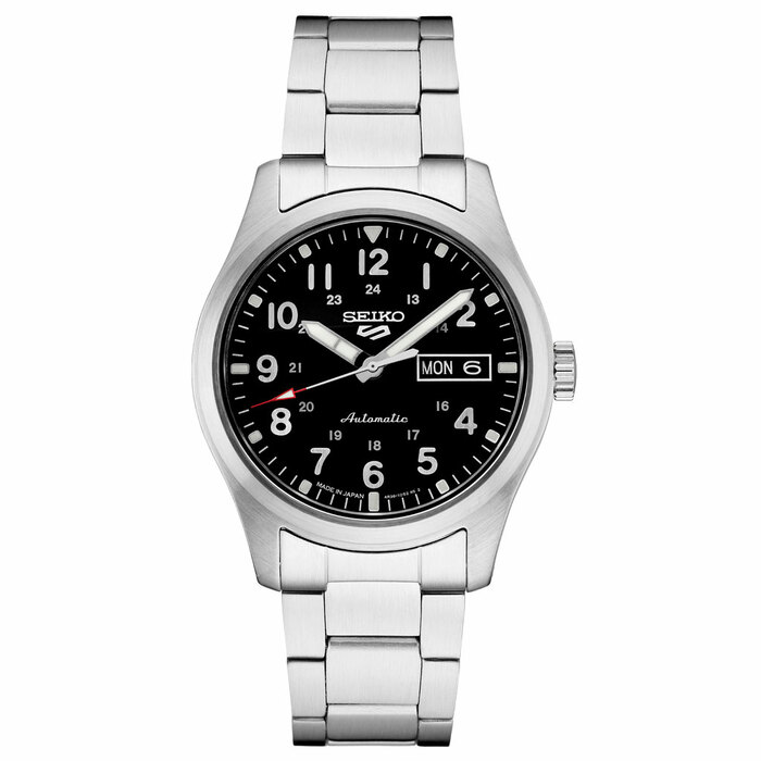 Seiko 5 Sports 24-Jewel Automatic Watch with Black Dial and SS Bracelet #SRPG27