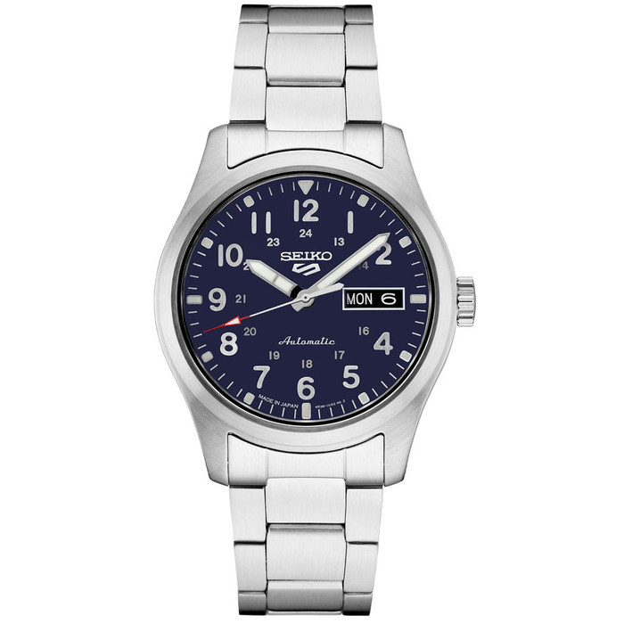 Seiko 5 Sports 24-Jewel Automatic Watch with Dark Blue Dial and SS Bracelet #SRPG29