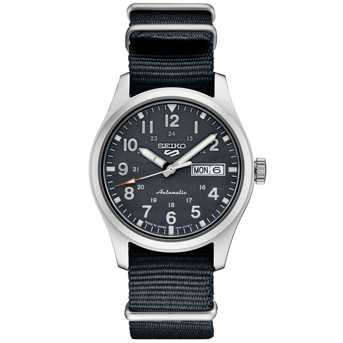 Seiko 5 Sports 24-Jewel Automatic Watch with Grey Textured Dial  #SRPG31