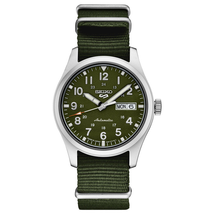 Seiko 5 Sports 24-Jewel Automatic Watch with Green Textured Dial  #SRPG33