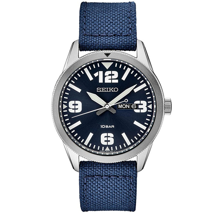 Seiko 43mm Quartz watch with an easy-to-read blue dial with a day and date window #SUR491